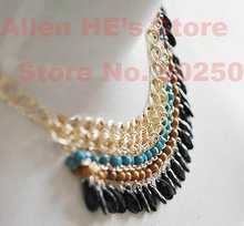 Gorgeous and ebullient Bohemian style,multi color stones fashion necklace +free shipping(China (Mainland))