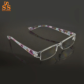 Unisex High-grade Fashion Resin Reading Glasses, Super Light Anti Fatigue Flower Design Look Younger Old People Magnifier. G391
