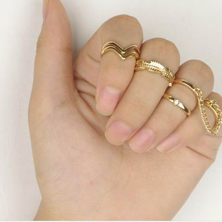 Cheap Gold Plated Rings Fashion Crystal Tree Leaves Shape Rings For Women 6Pcs/Set FR092(China (Mainland))