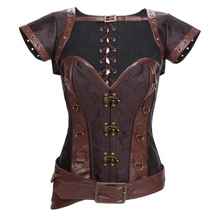 Brown Steel Vintage Bustier Sexy Espartilhos Corset Corselet Gothic Burlesque Costume Steampunk Clothing Womens Corsets Lingerie