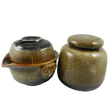 Freeshipping Pot cup tea caddy travel portable tea service set