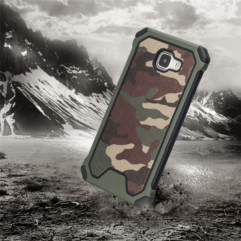 Army Camo Camouflage Pattern Cover Plastic + Soft TPU Armor Protective Case For Samsung Galaxy 2016 A3 A310 / A5 A510 / A7 A710