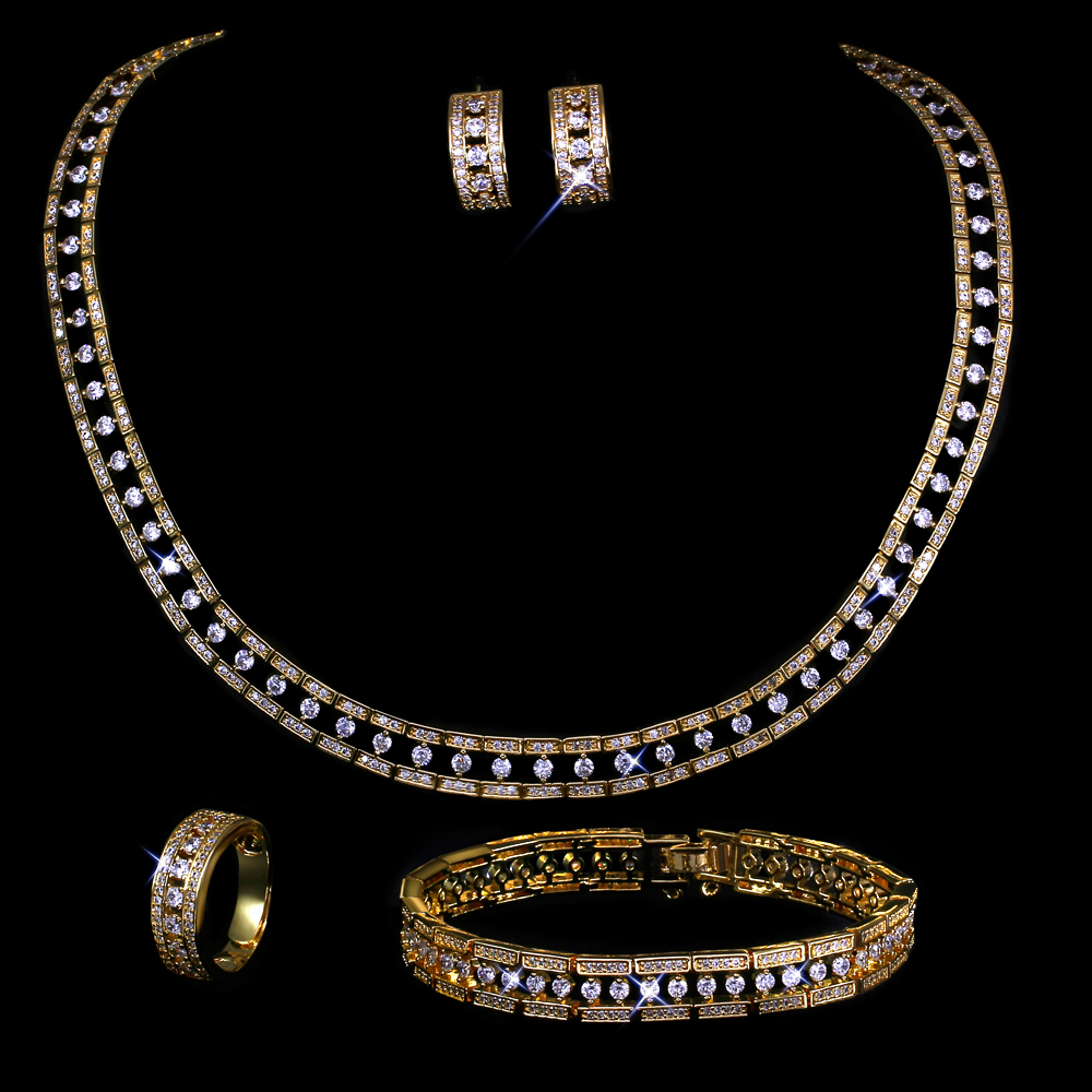 New Women wedding Jewelry Sets gold plated with cubic zircon 4pcs sets ( necklace + bracelet + earrings + ring) free shipment(China (Mainland))