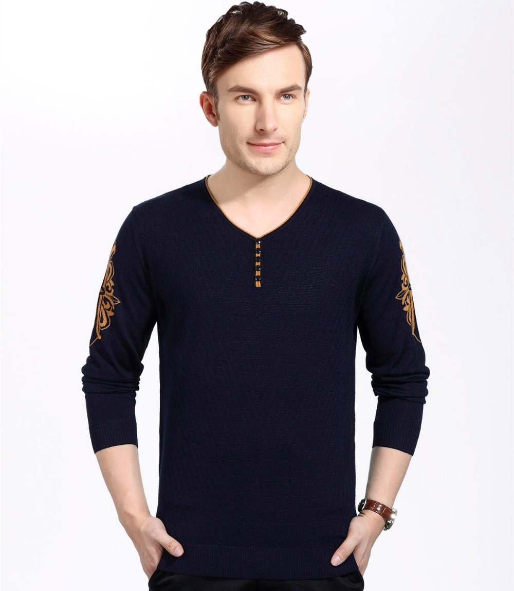 High Quality New Arrival Knitted Jacquard V-Neck Sweater For Men Long Sleeve Sweaters Wool Pullover Men Brand Boutique Clothing(China (Mainland))