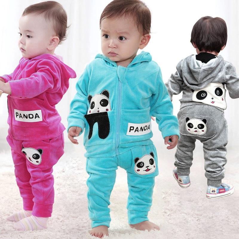 Boys Girls Children Kids Clothing Set Top+ Pants Baby Toddler Panda Hoodies Long Sleeve Outerwear Spring 0-2 Years - fashiontop store
