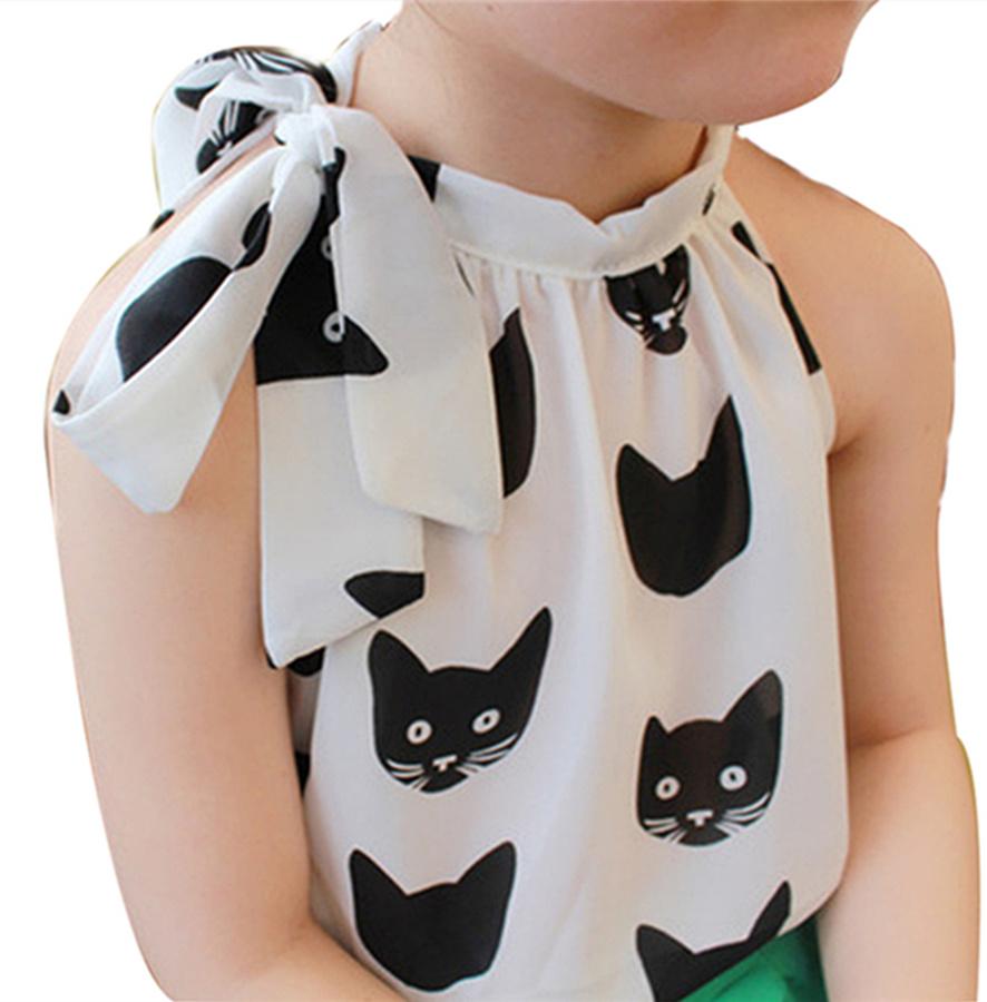 2016 Children Girls Fashion Chiffon Blouses Sleeveless O-collar with Bow Print Girl Blouse Summer Baby Girls Clothing Blouses(China (Mainland))