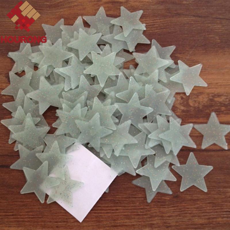 3.8cm Luminous Fluorescent Stars 100pcs/pakc 3D Stars Glow In The Dark Wall Stickers bedroom decoration DIY design Fashion Gift(China (Mainland))
