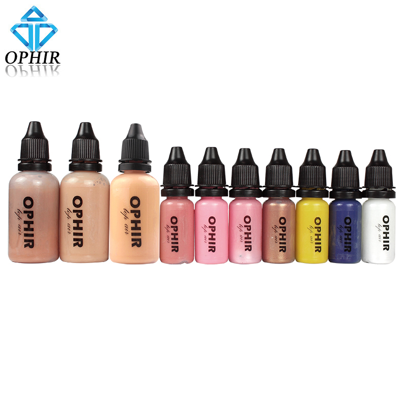 OPHIR 10 Bottles Airbrush Makeup Inks Set with 3 Colors Air Foundation 2x Air Blush 5x Air Eyeshadow for Face Paint Makeup Salon(China (Mainland))