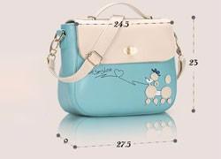 Cartoon Printing Messenger Bag Ladies Fresh Simple Shoulder Bag Contrast Color Lovely Cartoon Women PU Hand Bag Crossbody Bag