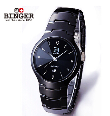 Genuine Swiss BINGER luxury brand Men fashion sapphire tungsten ceramic stainless steel watch waterproof calendar free shipping(China (Mainland))