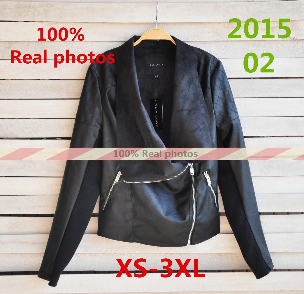 2015 New Fashion Women Spring Autumn Leather Jackets European Design Lapel Plaid Elasticity Sleeve PU Coat Jacket Women AD465(China (Mainland))