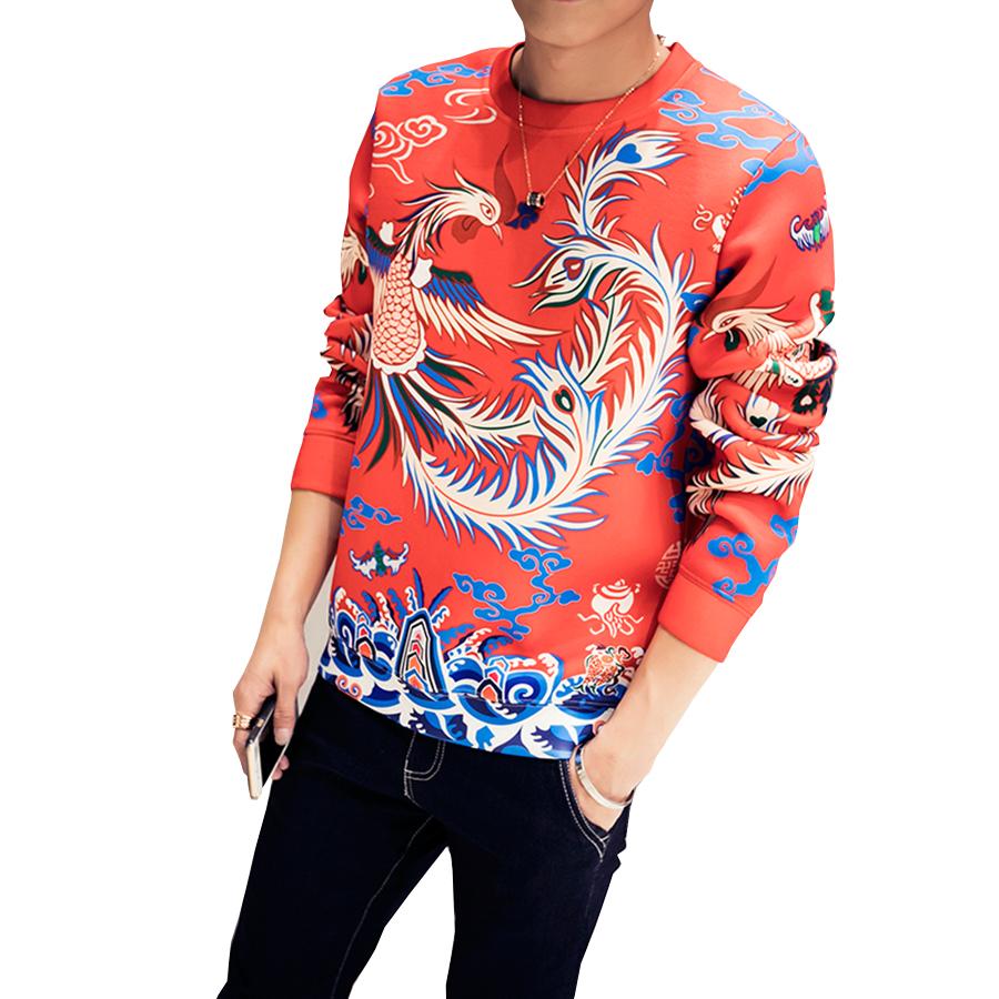 Sweatshirt Men Pullover Sweatshirt Chinese Style Phoenix Pattern Tracksuit Men Sudaderas Hombre moleton masculine Plus Size(China (Mainland))