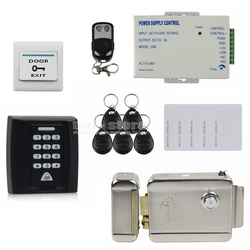 Door Bell Button Electric Lock 125KHz RFID Password Keypad Access Control System Security Kit Door Lock + Remote Control KS158(China (Mainland))