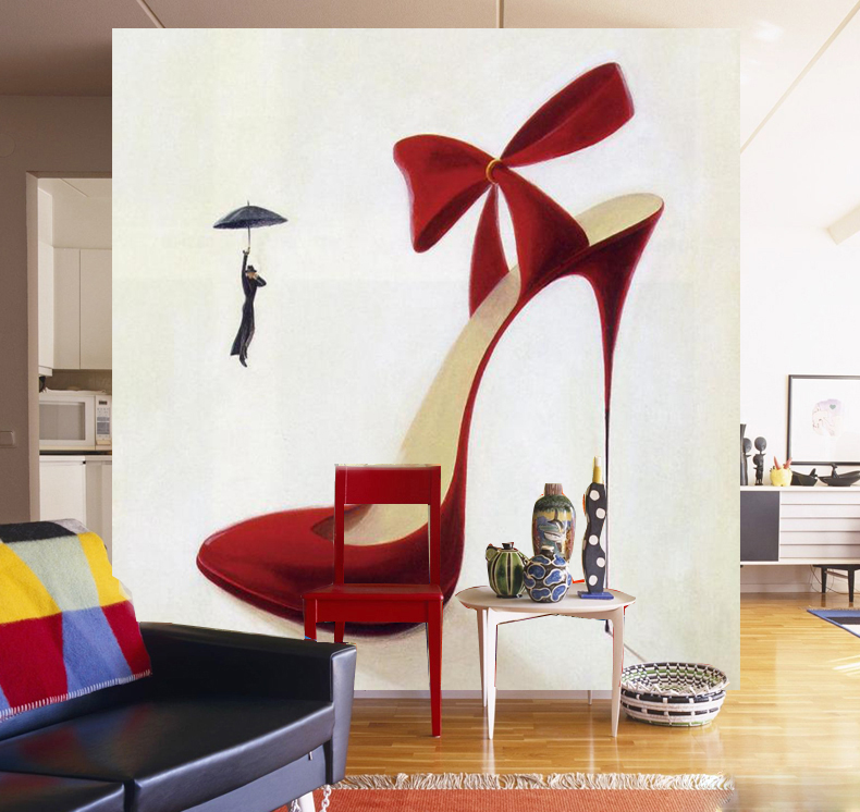Abstract wallpaper sitting room dining-room of Europe type high heels large murals custom make porch shop sofa setting wallpaper(China (Mainland))