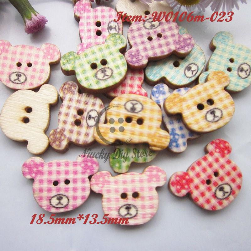 Cartoon buttons 144pcs Random mixed bear cartoon wood buttons for scrapbooking decorative kid craft accessories wholesale(China (Mainland))