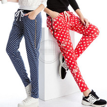 Fall Summer Women Harem Pants Casual Polka Dot Star Printed Elastic Waist Plus Size Ladies Stretch Trousers 3XL(China (Mainland))
