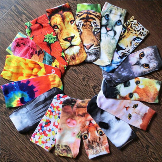 Гаджет  65 Patterns Women 3D Socks High Quality Brand Harajuku Animal Strawberry Food Print Ankle Sock Men
