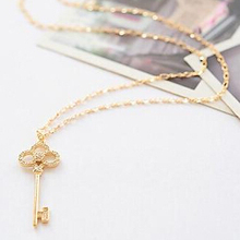 LZ Jewelry Hut N351 The 2014 New Wholesale Retro Hollow Crystal Rhinestone Key Chain Clavicle Womens Pendant Necklace For Women