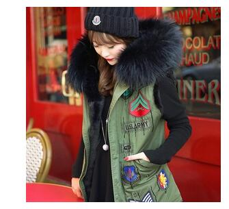 2015 badge logo winter jacket women coat street fashion Large raccoon faux fur collar hooded army green vest plus size outwear(China (Mainland))