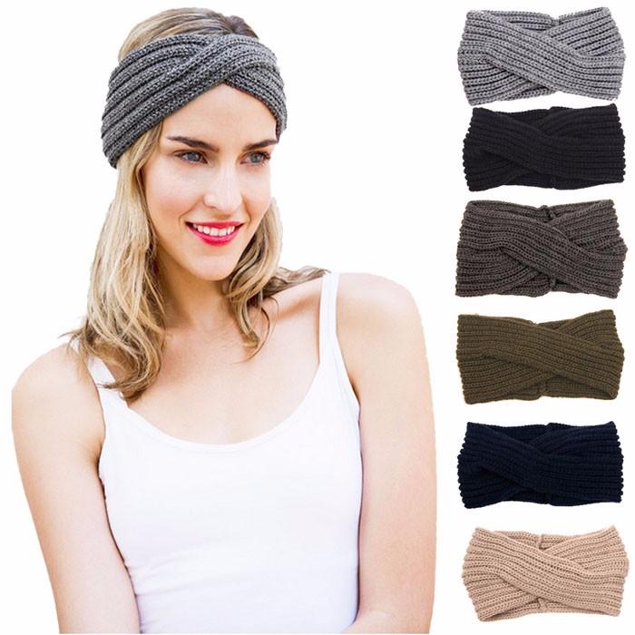 2016 Fashion Women Crochet Wide Headband Ladies Handmade Knit Hairband Womens Elastic Headwrap Accessories Turban #Zer(China (Mainland))