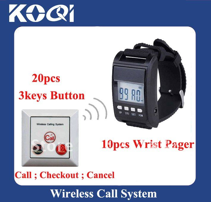 DHL Freeshipping ; A set of 10pcs Wrist Receivers and 20pcs Call Buttons ; 433.92mhz Dinner Bell Call System(China (Mainland))
