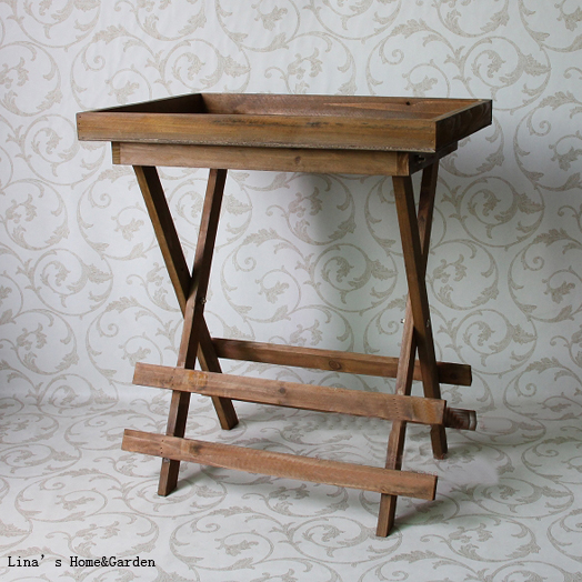 Aged Old Solid Wood Folding Tray Table with Screen Printing(China (Mainland))