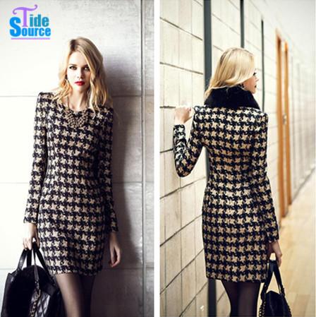 Women Clothing Casual Dress Plaid Winter Dress 2015 Vestidos O-neck Long Sleeve Elegant Mini Pencil Dress Brief Woman Work Wear(China (Mainland))