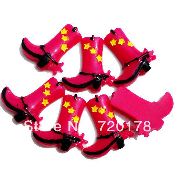 600pcs/lot,1x1'' Western Cowgirl Hot Pink Boots Resin Cabochons Flatbacks Flat Back decoration cell phone DIY,REY165(China (Mainland))