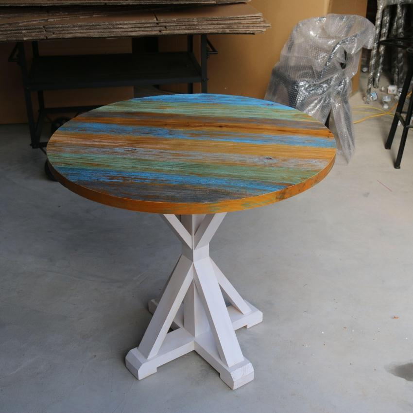 American Retro To Do The Old Wood Furniture Colorful French Torx Leg Dining Table Coffee Table