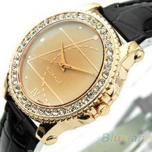 Mínima. 16 mujeres de moda pulsera cristal negro blanco cuero análogo del deporte del reloj caliente de la venta 02NB 2V88
