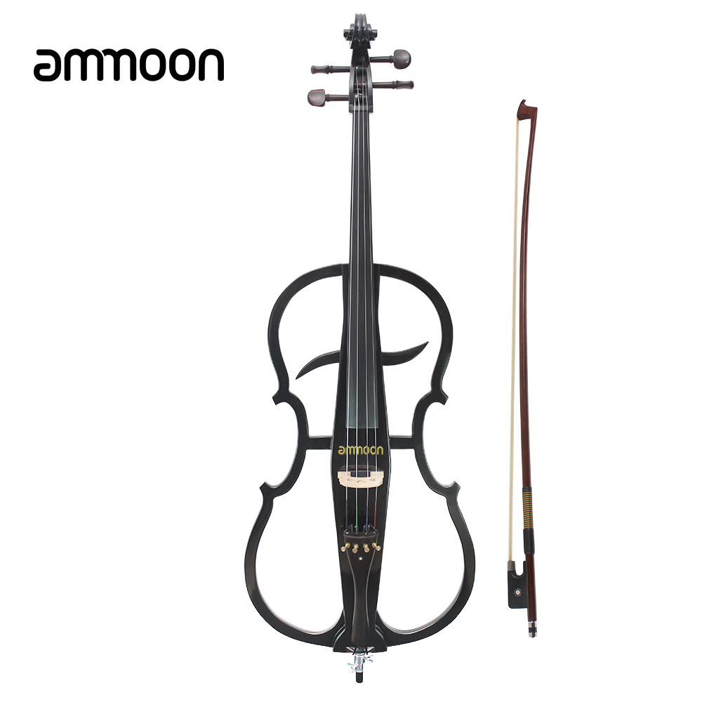 4/4ammoon Solid Wood Electric Cello Violoncello Ebony Fittings in Style 1 with Tuner Headphone Gig Bag Stringed Instruments(China (Mainland))