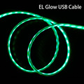 New LED EL Cable lighting lights up USB Cables For Suamsung LG Andriod mobile phone Glow