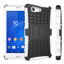 """Coque For Sony Z3 Compact Cover Silicone & Plastic Shell Holder Stand Case For Sony Xperia Z3 Compact Case Z3 Mini 4.6 """" D5803 !"""