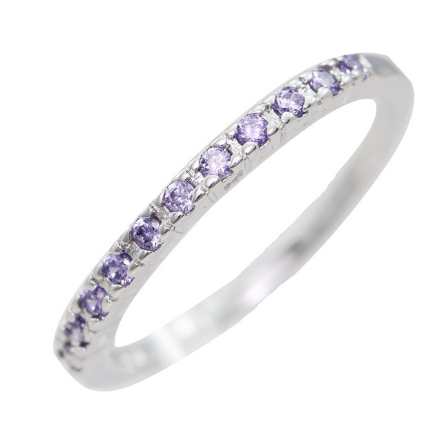 Cute Simple Engagement CZ Diamond Ring Style Silver Amethyst Wedding Jewelry