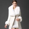 New Autumn Winter Fashion Women Coat Cashmere Black Long Wool Coat With Big Fur Collar Female