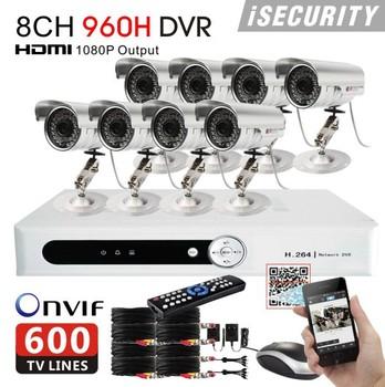 8ch CCTV System 600TVL Waterproof IR security Cameras h.264 8ch Network 960h DVR Recorder cctv DVR NVR HVR for ip camera