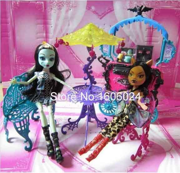 4PCS/SET Wholesale 5 Set/Lot Baby Girl Best Gift Dolls Accessories Plastic Monster Doll Furniture Set(China (Mainland))