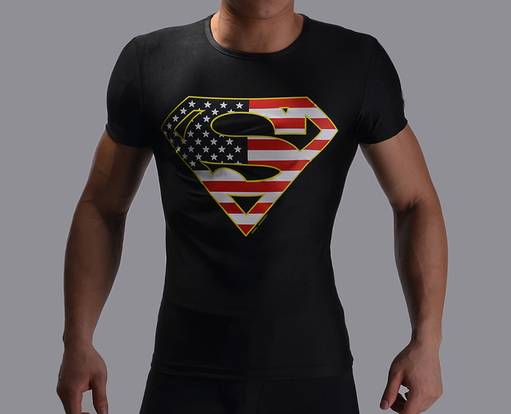 Superman returns 2015 fitness men t shirts summer Imitation leather short-sleeved popular sexy compression t shirt men t-shirt(China (Mainland))