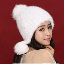 Multi- colored Mink Hat Women's Winter Fur Warm Hat Ear Fashion Sweet Real Mink Knitted Genuine Hair(China (Mainland))