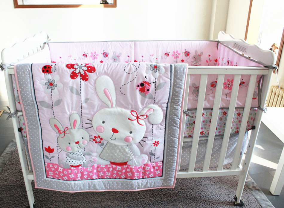 Promotion! 7pcs Embroidery Baby cot bedding cribs for babies cot bumper bed around ,include (bumpers+duvet+bed cover+bed skirt)<br><br>Aliexpress