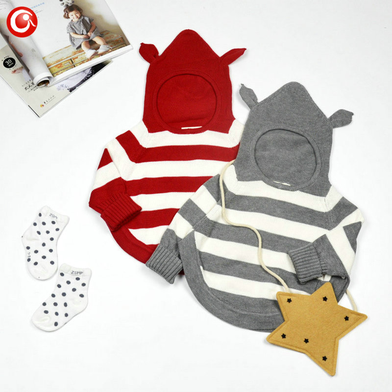 7-24M Baby Sweater 2017 Hooded Bat Striped Infant Girls Winter/Autumn Warm Pullover Sweaters Kids Boys Fashion Cardigan Clothes