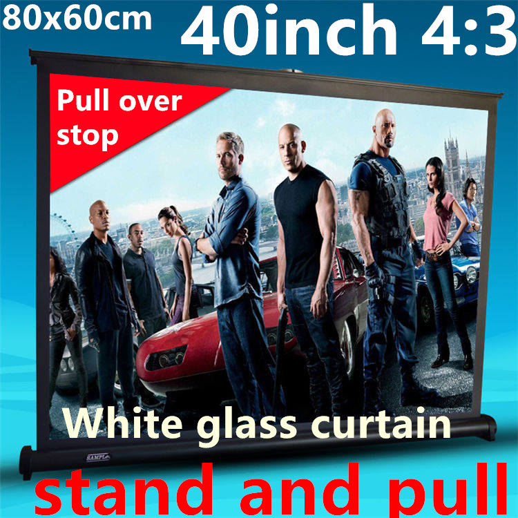 40 inch 4:3 White glass curtain Pull Up standing projector Screen Portable Floor Stand Screen for dlp led hd mini projector<br><br>Aliexpress