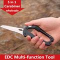 Survival Camping Hiking 5 in 1 Aluminum Climbing Carabiner Hook Gear Multi Tool Buckle Rock Lock