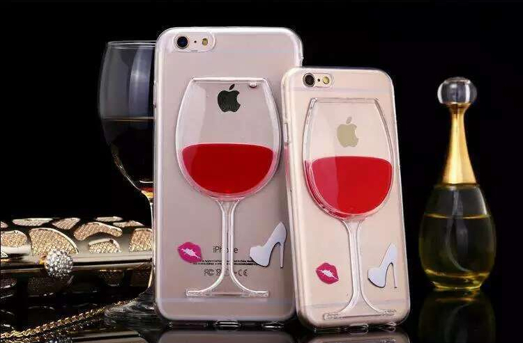 3D Quicksand Liquid Wine Bottle Glass Cover For iPhone 5G Phone Case T01(China (Mainland))