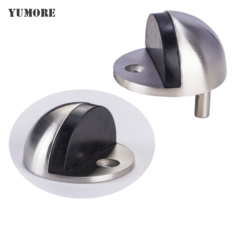 YUMORE 887 Solid 304 Stainless Steel Wall Mounted Floor Door Stopper Holder 2 Pcs Pack, Brushed(China (Mainland))