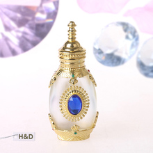 Gold Mosaic Retro 12ML Graven Brown Metal and Glass Empty Container Refillable Portable Gift Perfume Bottle Home Decoration(China (Mainland))