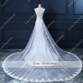 2015 Real Sample photo vestido de noiva Removable train Satin Mermaid Wedding Dresses Elegant Applique removable