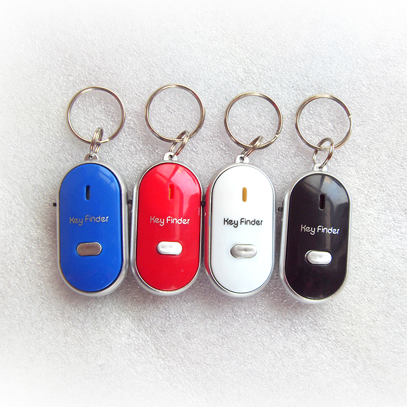 High quality 1PC White LED Key Finder Locator Find Lost Keys Chain Keychain Whistle Sound Control(China (Mainland))