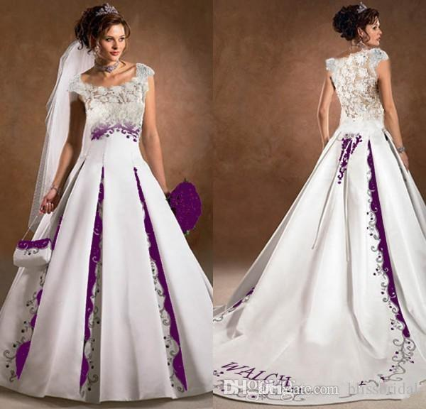 Compare Prices on Plus Size White and Purple Wedding Dress- Online ...