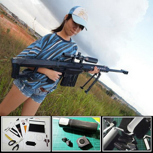 Paper Model Barrett M82A1 Sniper Rifle Cosplay Kits 1:1 Scale Weapons Paper Gun Toys(China (Mainland))